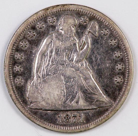1871 P Seated Liberty Silver Dollar.
