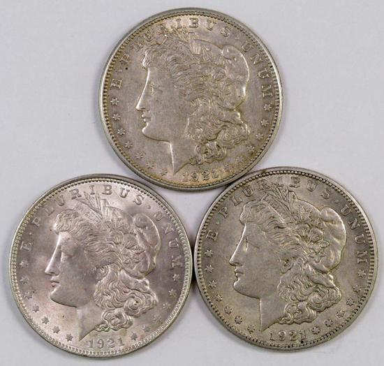 Lot of (3) Morgan Silver Dollars.