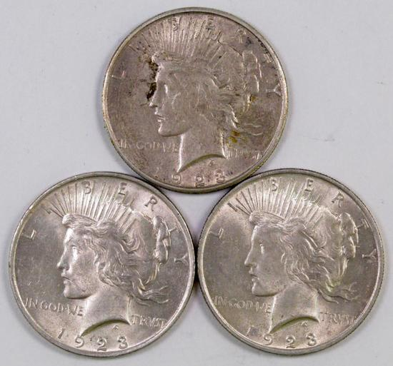 Lot of (3) Peace Silver Dollars.