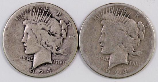Lot of (2) Peace Silver Dollars.