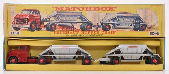 Matchbox King Size K-4 Fruehauf Hopper Train Die-Cast Vehicle with Original Box