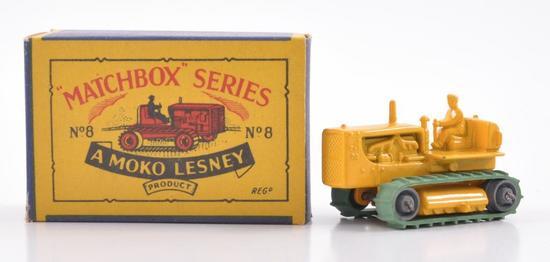 Matchbox No. 8 Caterpillar Tractor Die-Cast Vehicle with Original Box