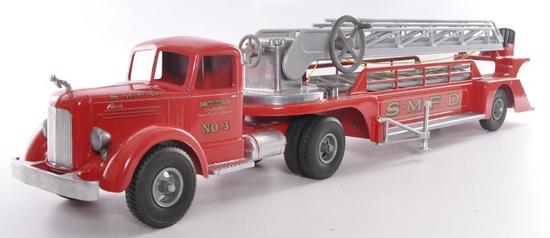 "Smith Miller ""Smitty Toys"" Mack No. 3 SMFD Pressed Steel Fire Truck"