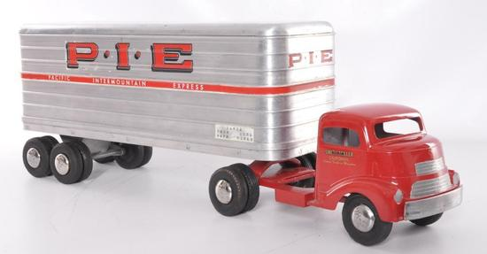 "Smith Miller ""Smitty Toys"" PIE Pacific Intermountain Express Pressed Steel Semi Truck and Trailer"