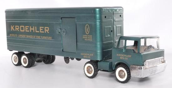 Structo Kroehler Advertising Pressed Steel Semi Truck and Trailer