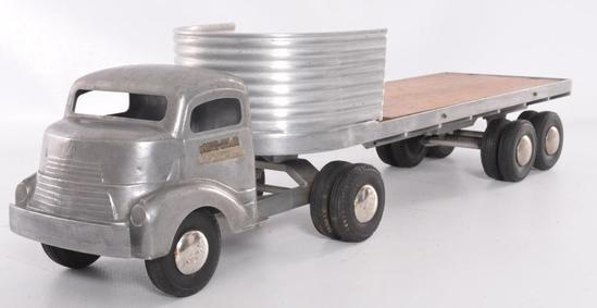 "Smith Miller ""Smitty Toys"" Pressed Steel Semi Truck and Trailer"