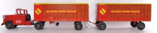 Marx Allstate Super Trailer Pressed Steel Semi Truck with 2 Trailers