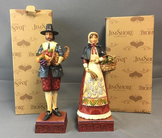 Group of 2 Jim Shore Thanksgiving Statues
