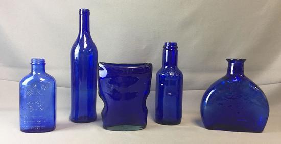 Group of 5 Cobalt Blue Glass Bottles and Vases
