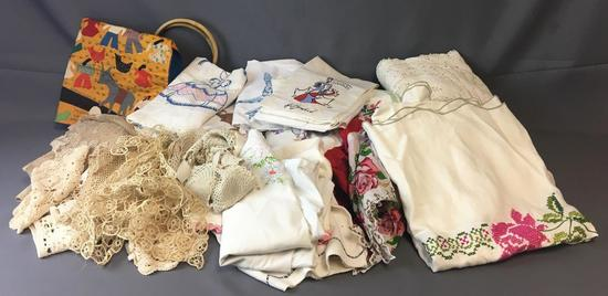 Large group of Vintage Handmade Doilies and more