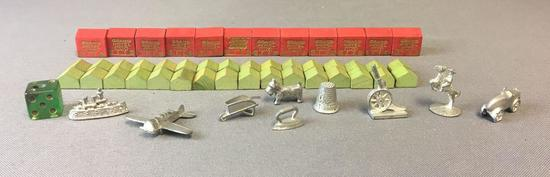 Group of Vintage Monopoly Pieces