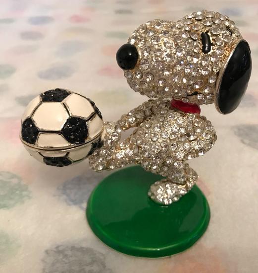 Crystal World Peanuts Jeweled Trinket Box Soccer Snoopy