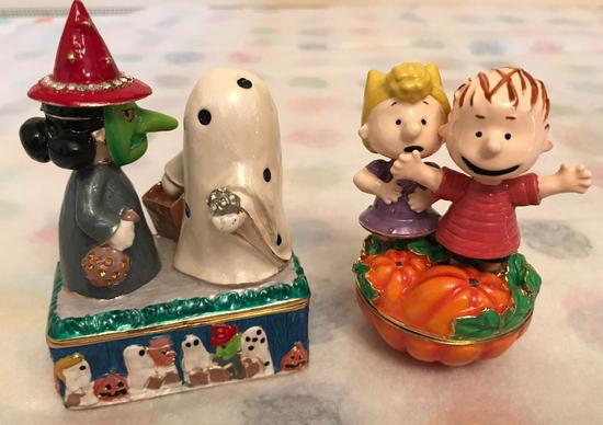 Group of 2 Peanuts Halloween Trinket Boxes