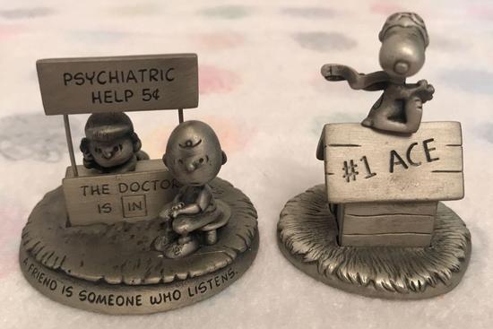 Group of 2 Peanuts Pewter Figurines