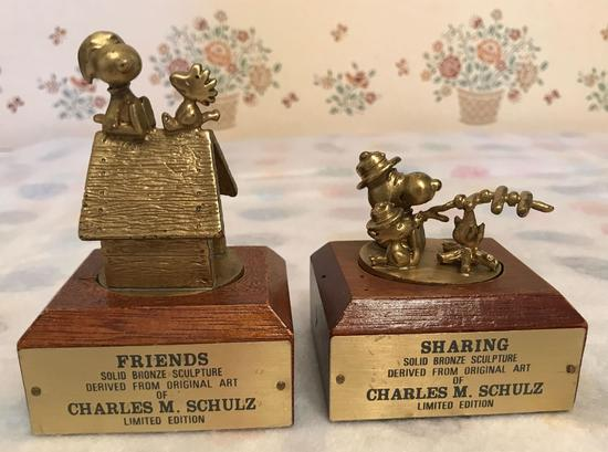 Group of 2 Peanuts Bronze Sculptures