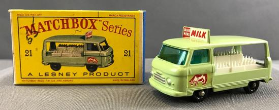 Matchbox No. 21 Commercial Bottle Float Truck die cast vehicle with Original Box