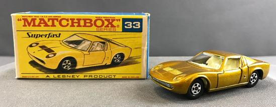 Matchbox Superfast No. 33 Lamborghini Miura die cast vehicle with Original Box