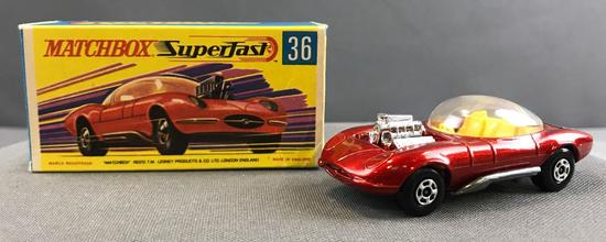 Matchbox Superfast No. 36 Hot Rod Draguar die cast vehicle with Original Box