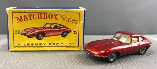 Matchbox No. 32 E Type Jaguar die cast vehicle with Original Box