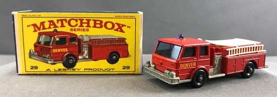 Matchbox No. 29 Fire Pumper Truck die cast vehicle with Original Box