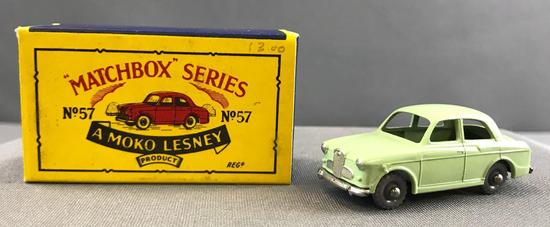 Matchbox No. 57 Wolseley 1500 die cast vehicle with Original Box