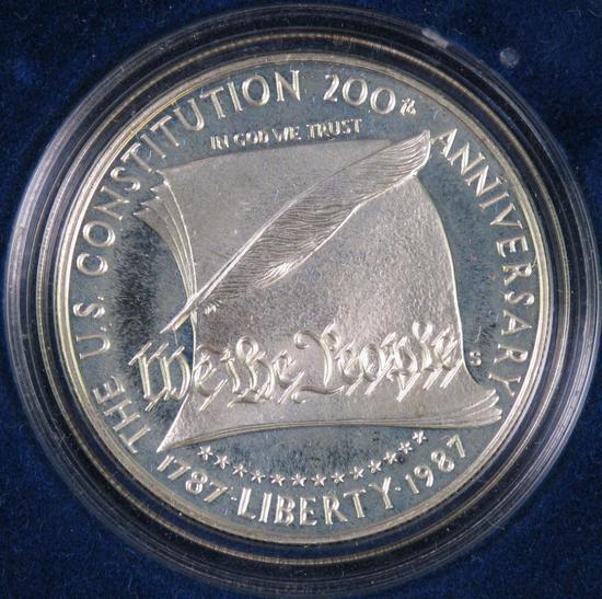 1987 Constitution Proof Silver Dollar Commemorative.