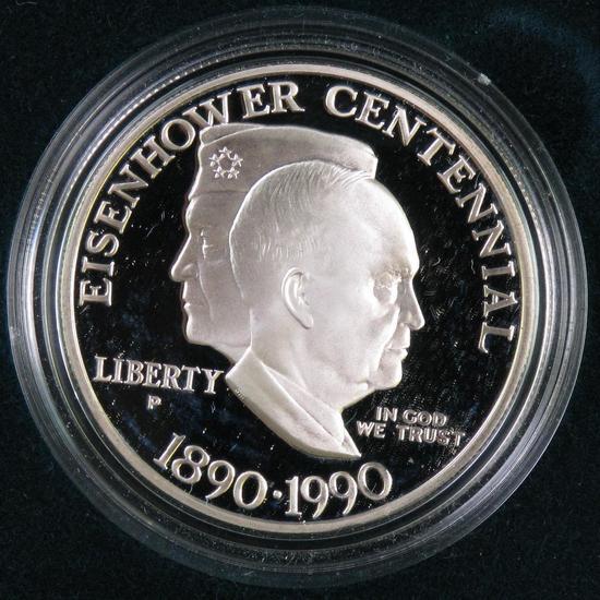 1990 Eisenhower Centennial Proof Silver Dollar Commemorative.