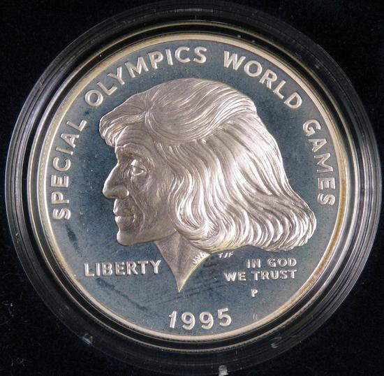 1995 Special Olympics World Games Proof Silver Dollar Commemorative.