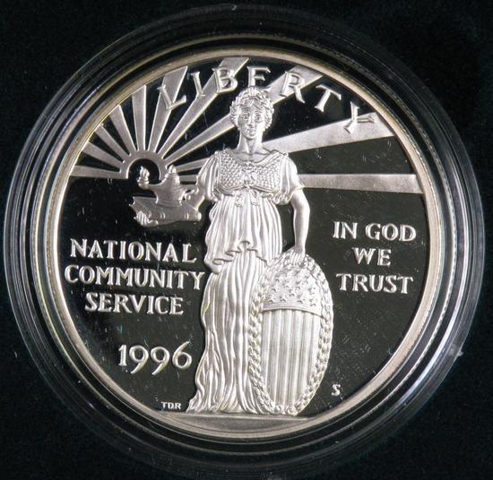 1996 National Community Service Proof Silver Dollar Commemorative..