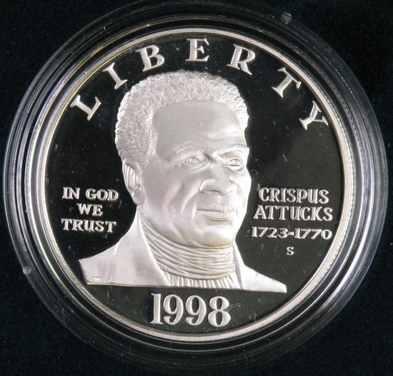 1998 Black Revolutionary War Patriots Proof Silver Dollar Commemorative.