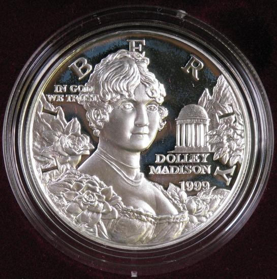 1999 Dolley Madison Proof Silver Dollar Commemorative.
