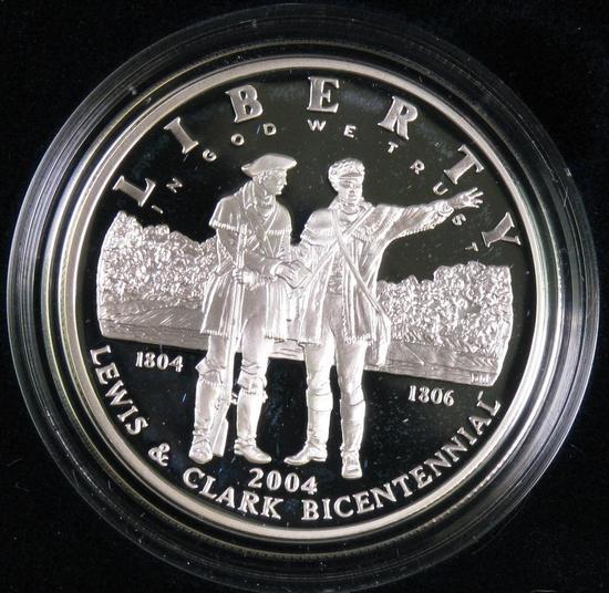 2004 Lewis & Clark Bicentennial Proof Silver Dollar Commemorative.