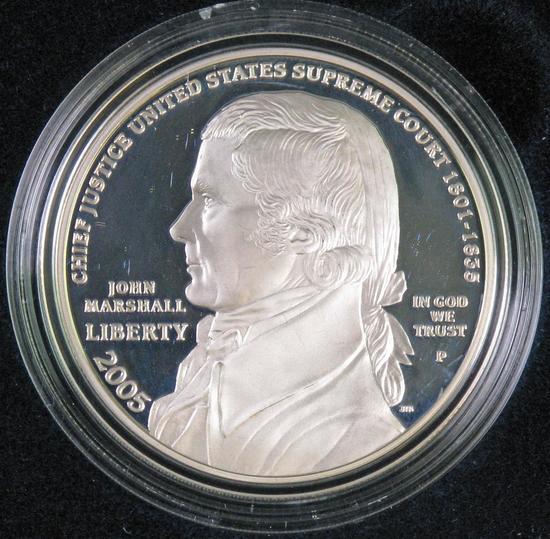 2005 Chief Justoce John Marshall Proof Silver Dollar Commemorative.