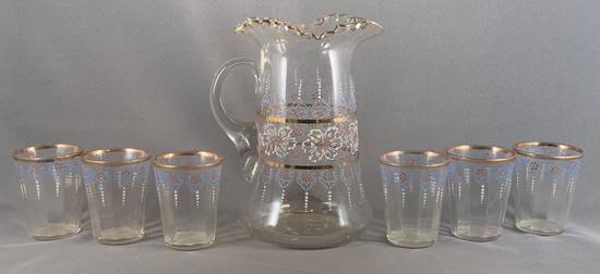 Vintage seven piece glass lemonade set with enamel design