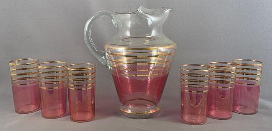 Vintage seven piece cranberry flash glass lemonade set
