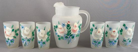 Vintage seven piece frosted glass of lemonade set with the hand-painted floral design
