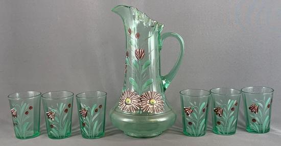Vintage seven piece mint green glass of lemonade set with hand painted floral design