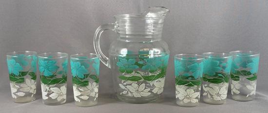 Vintage seven piece glass lemonade set with floral design