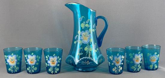 Seven piece blue glass lemonade set with hand painted floral design