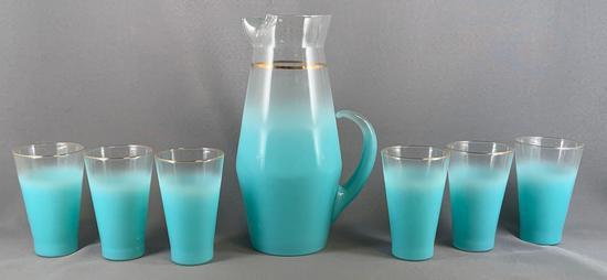 Vintage seven piece glass lemonades set