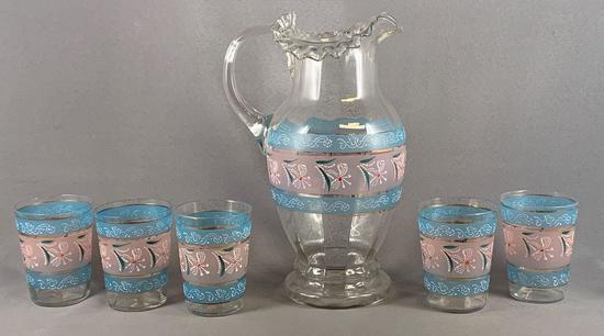 Vintage six piece glass lemonade set with enamel design