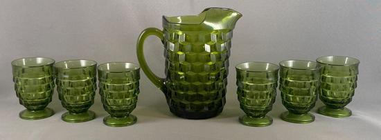 Vintage seven piece olive green pressed glass lemonade set