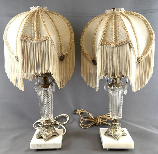 Pair of antique cut glass table lamps with ornate shades and hanging crystals