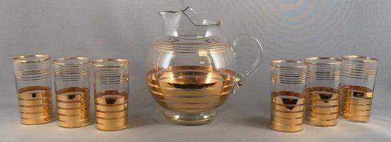 Vintage seven piece lemonade set with gold stripe design