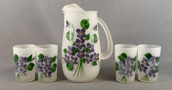 Vintage five piece frosted glass lemonade set with hand painted floral design