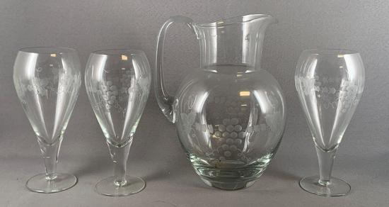 Vintage four piece etched glass lemonade set with grape and cable design