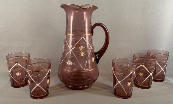 Vintage six piece amethyst lemonade set with enamel floral design