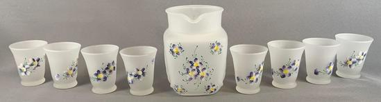 Vintage 9 piece frosted glass with hand painted floral design lemonade set