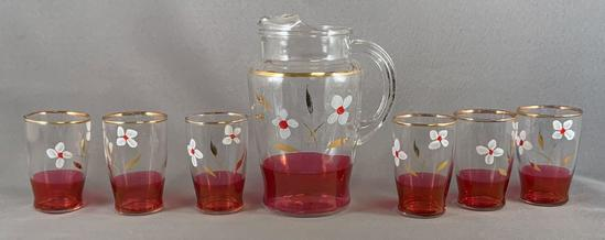 Vintage seven piece glass of lemonade set with ruby flash and hand painted floral design
