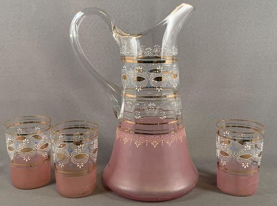 Vintage four piece glass lemonade set with enamel design